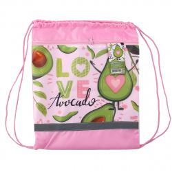 Мешок для обуви 1 отделение 34*42 с карманом Сердце авокадо Пчелка СДС-71