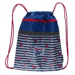 Мешок для обуви 1 отделение 34*42 с карманом Фламинго и сердечки SchoolФОРМАТ МОМК-ФМС