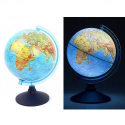 Глобус 250мм физико-политический Классик Евро Ве012500257 с подсветкой на батарейках