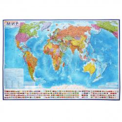 Карта Мира полит 1:15,5млн 134*199см интерактивная ламин КН084