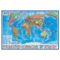 Карта Мира полит 1:21,5млн 107*157см интеракт ламин КН063