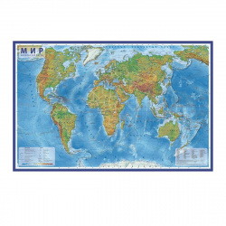 Карта Мира физич 1:25млн 78*120см интерактивная ламин КН048