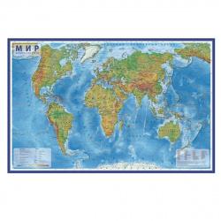 Карта Мира физич 1:29млн 66*101см интерактивная ламин КН038