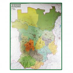 Карта Чеченской Республики 100*142см 1*160тыс глянц