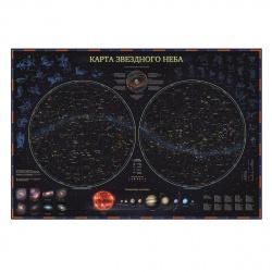 Карта Звездное небо/планеты 69*101см интерактивная КН003 ламин