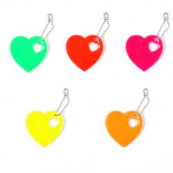 Брелок светоотражающий 6см Heart КОКОС 207042 ассорти 5 видов