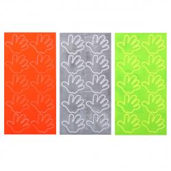 Наклейки светоотражающие набор 10шт 3,5*4,5см Ладошки КОКОС 207097 ассорти 3 вида