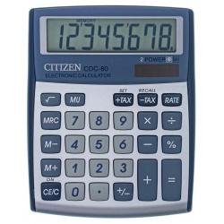 Калькулятор настольный 8 разрядов Citizen CDC 80 WB двойное питание 135*109*25мм серый/синий
