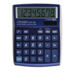 Калькулятор настольный 8 разрядов Citizen CDC 80 BLWB двойное питание 135*109*25мм синий