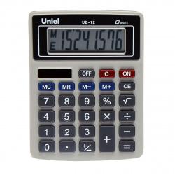 Калькулятор настольный 8 разрядов Uniel UB-12K двойное питание 126*95*25мм черный/серый