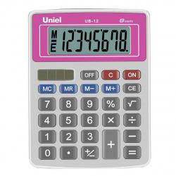 Калькулятор настольный 8 разрядов Uniel UB-12R двойное питание 126*95*25мм красный/серый
