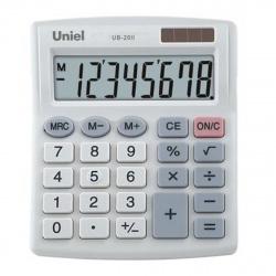 Калькулятор настольный 8 разрядов Uniel UB-20II двойное питание 127*105*22мм серый