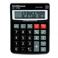 Калькулятор настольный 10 разрядов Erich Krause DC-310N 50310 двойное питание 130*100*10мм черный
