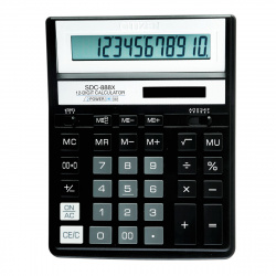 Калькулятор настольный, 12 разрядов, питание двойное, 204*158*31мм   Citizen SDC-888XBK