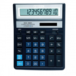 Калькулятор настольный, 12 разрядов, питание двойное, 204*158*31мм   Citizen SDC-888XBL