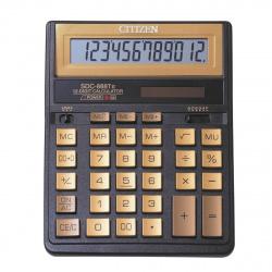 Калькулятор настольный 12 разрядов Citizen SDC 888 TIIGE двойное питание 204*158*31мм черный/золотой