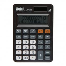Калькулятор настольный, 12 разрядов, питание двойное, 120*83*22мм   Uniel UD-122