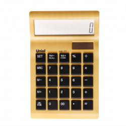 Калькулятор настольный, 12 разрядов, питание двойное, 170*109*28мм Uniel UD-77Y