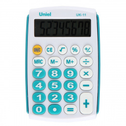 Калькулятор карманный, 8 разрядов, питание батарея, 97*62*11мм   Uniel UK-11B