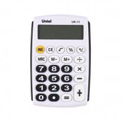 Калькулятор карманный, 8 разрядов, питание батарея, 97*62*11мм   Uniel UK-11K