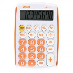 Калькулятор карманный 8 разрядов Uniel UK-11O питание от батарейки 97*62*11мм оранжевый/белый