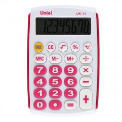 Калькулятор карманный 8 разрядов Uniel UK-11R питание от батарейки 97*62*11мм красный/белый