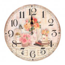 """Часы настенные Arte Nuevo """"Розы"""" 14BD34001 (корпус МДФ, плавный ход)"""
