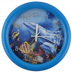 Часы настенные 3Б4.1 - 725 ДЕЛЬФИНЫ 3D (пластик, плавный ход)
