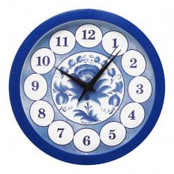 Часы настенные П - Б4 - 169 ГЖЕЛЬ (пластик, дискретный ход)