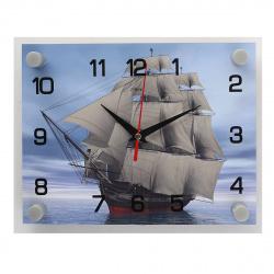 """Часы настенные """"Корабль"""" 25,5х20х4,5 (стекло, плавный ход) 2026-249"""