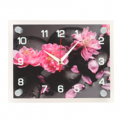 "Часы настенные ""Камни с цветами"" 25,5х20х5 (стекло, плавный ход) WB-DAO-1"