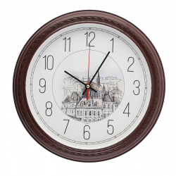 Часы настенные бесшумные WallC-R63P/коричневый Бюрократ