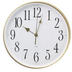 Часы настенные бесшумные WallC-R76P/белый/золото  Бюрократ