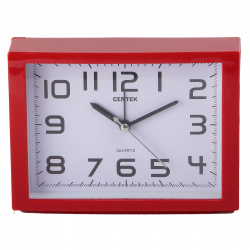 Часы-будильник настольные Centek СТ-7202 (красный), шаговый ход