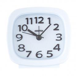 Часы-будильник настольные Centek СТ-7205 (белый), шаговый ход