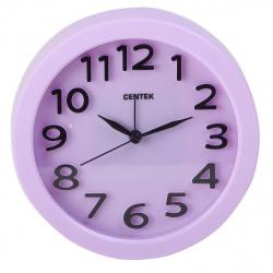 Часы-будильник настольные Centek СТ-7200 (лиловый), плавный ход
