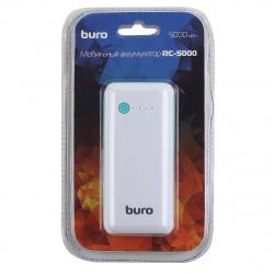 Аккумулятор мобильный PowerBank Buro RC-5000WB Li-Ion 5000mAh 1A белый/голубой 1xUSB